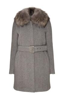 Серое пальто с мехом Claudie Pierlot