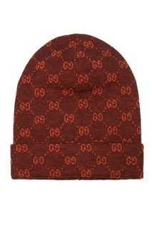 Коричневая шапка с монограммами Gucci