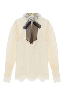 Кружевная блузка с бантом Gucci