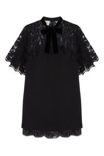 Черное платье с кружевной отделкой Gucci