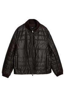 Стеганая кожаная куртка Hugo Boss