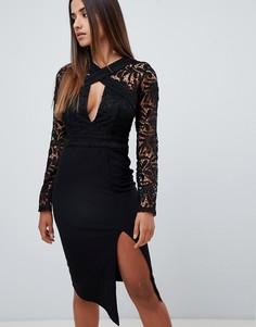 Черное платье-футляр миди с кружевным верхом Love Triangle - Черный