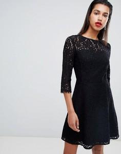 Черное кружевное приталенное платье для выпускного Morgan - Черный