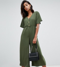 Комбинезон цвета хаки с пуговицами и кюлотами Boohoo - Зеленый