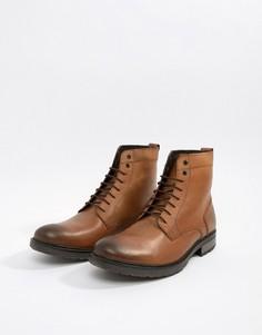 Светло-коричневые кожаные ботинки на шнуровке с толстой подошвой ASOS - Рыжий
