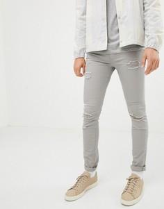 Серые состаренные джинсы скинни Jack & Jones - Серый