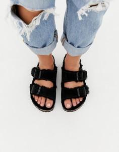 Черные замшевые сандалии на меховой подкладке Birkenstock Arizona - Черный