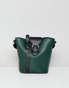 Кожаная сумка с пряжкой ASOS DESIGN - Зеленый