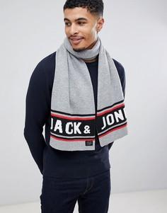 Шарф с логотипом Jack & Jones - Серый