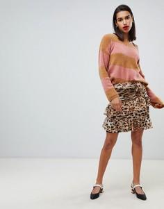 Мини-юбка с леопардовым принтом Sofie Schnoor - Коричневый