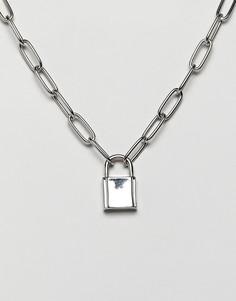 Серебристое ожерелье с цепочкой и подвеской-замком ASOS DESIGN - Серебряный