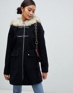 Черный дафлкот с меховой отделкой на капюшоне Miss Selfridge - Черный