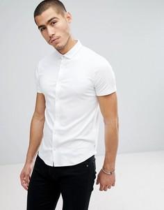 Белая узкая рубашка с короткими рукавами Emporio Armani - Белый