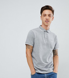Серая меланжевая облегающая футболка-поло с короткими рукавами и двойным кантом Jack Wills Edgewear - Серый