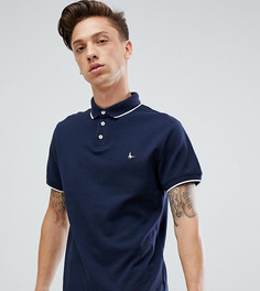 Темно-синяя облегающая футболка-поло с короткими рукавами и двойным кантом Jack Wills Edgewear - Темно-синий