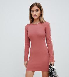 Розовое платье мини в рубчик с кнопками на рукавах Missguided Petite - Бежевый