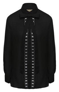 Блуза из смеси шелка и хлопка с бантом Elie Saab