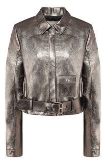 Кожаная куртка с поясом Elie Saab