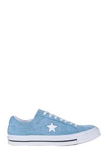 Голубые замшевые кеды Converse