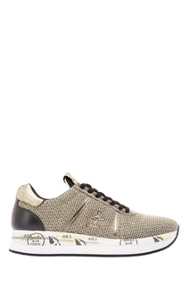 Кожаные кроссовки с серебристой отделкой Premiata