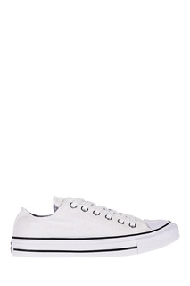 Белые кеды с серебристым глиттером Converse
