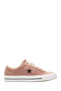 Розовые кеды из кожи Converse