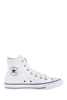 Высокие белые кеды с блеском Converse