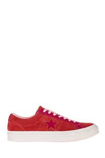 Красные кеды с розовой шнуровкой Converse