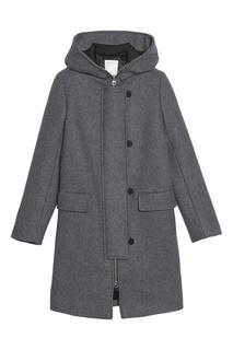 Серое пальто с капюшоном Sandro