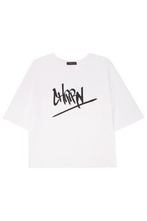Белая футболка с принтом Chapurin