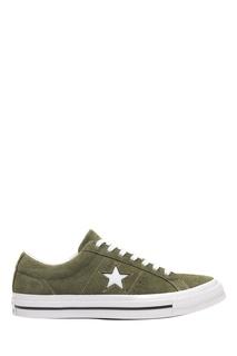 Зеленые замшевые кеды Converse
