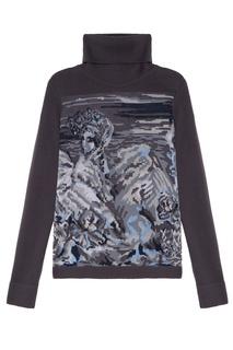 Серый свитер с интарсией 7КА
