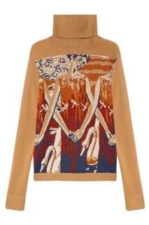 Бежевый свитер с интарсией 7КА