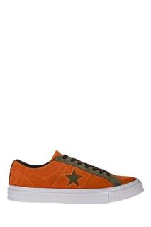 Оранжевые кеды с контрастной отделкой Converse