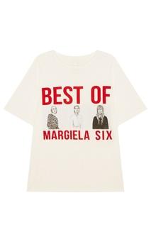 Белая футболка с контрастным принтом Mm6 Maison Margiela