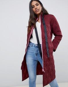 Удлиненное стеганое пальто с контрастной молнией ASOS DESIGN - Зеленый