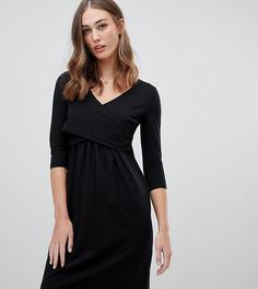 Трикотажное платье с запахом Mamalicious - Черный Mama.Licious