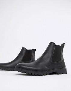 Ботинки челси из зернистой кожи Selected Homme - Черный