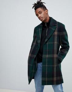 Зеленое пальто в клетку с острыми лацканами ASOS DESIGN - Зеленый