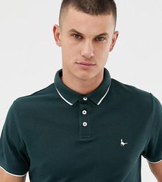 Темно-зеленая узкая футболка-поло с контрастной отделкой на воротнике Jack Wills Edgewear - Зеленый