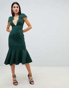 Облегающее платье миди с глубоким вырезом и баской ASOS DESIGN - Зеленый