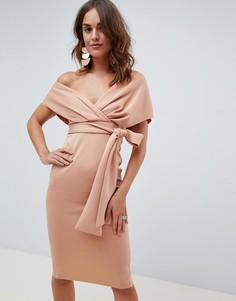 Платье миди с открытыми плечами, запахом и завязкой ASOS DESIGN - Розовый