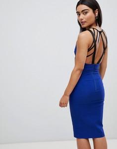 Платье-футляр средней длины с бретельками Vesper - Синий