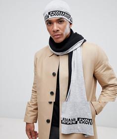 Подарочный набор с шапкой-бини и шарфом Armani Exchange - Серый