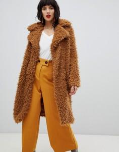 Oversize-пальто с плюшевой текстурой Vero Moda - Желтый