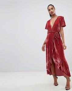 Розовое бархатное платье миди с запахом PrettyLittleThing - Розовый