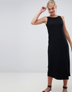 Платье миди в рубчик Stradivarius - Черный