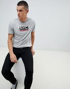Серая футболка с принтом NYC Burton Menswear - Серый
