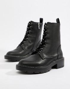 Походные ботинки на шнуровке Pull&Bear - Черный
