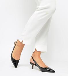 Туфли для широкой стопы на каблуке-рюмочке с ремешком через пятку Dune Casanna - Черный